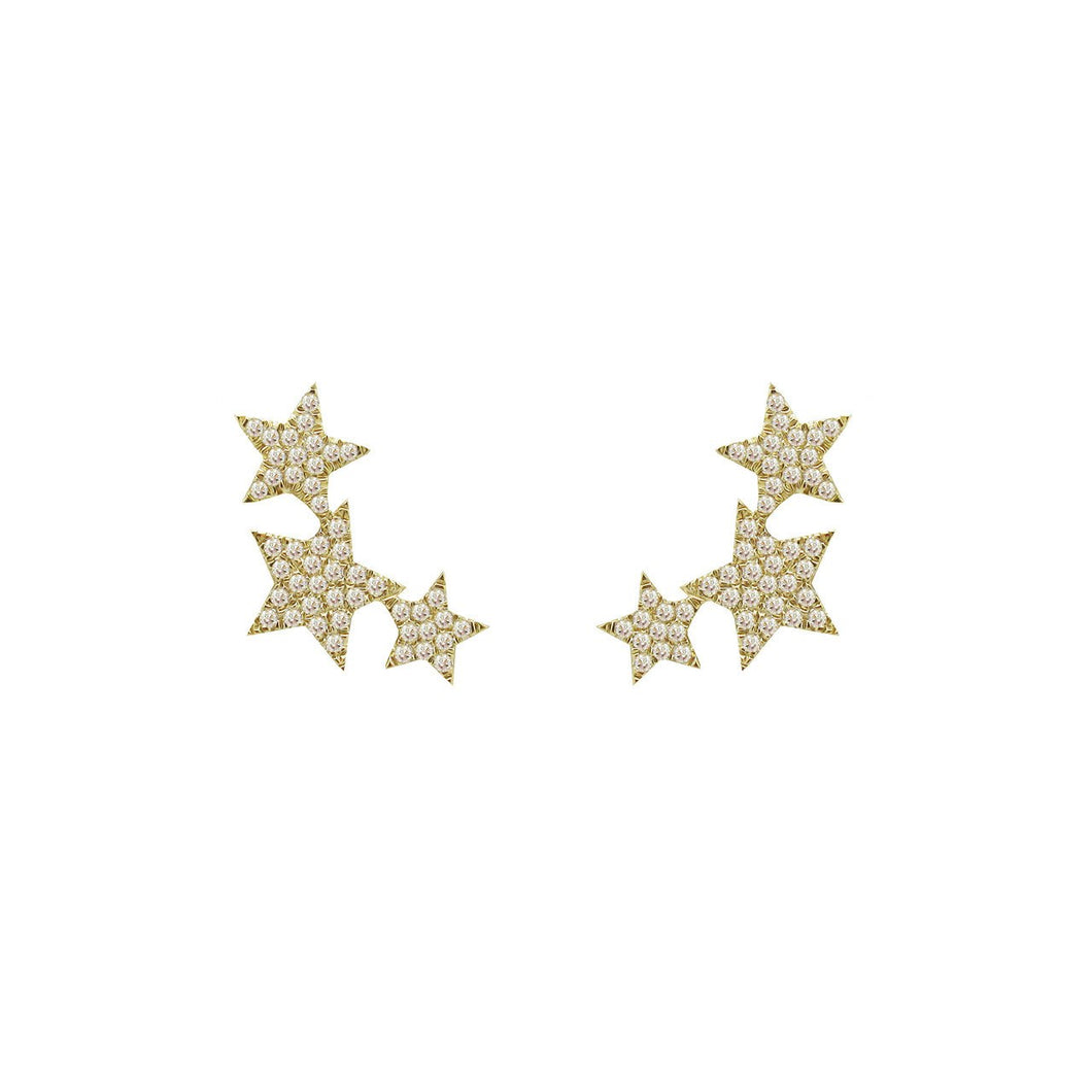 14K GOLD DIAMOND THREE STAR STUDS