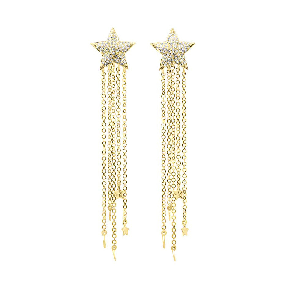 14K GOLD DIAMOND MELODIE STAR EARRINGS