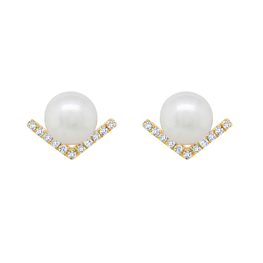 14K GOLD DIAMOND ELLE PEARL STUDS