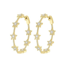 14K GOLD DIAMOND STAR HOOPS (ALL COLORS)