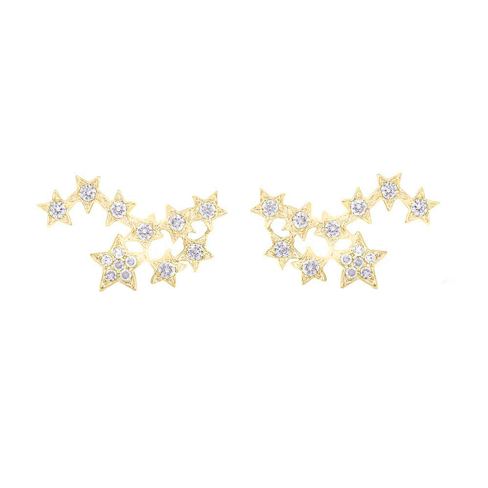 14K GOLD DIAMOND KAYLA STAR STUDS