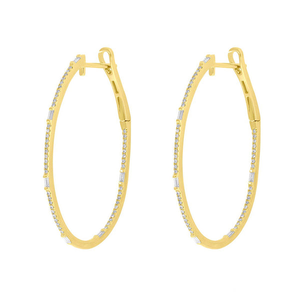 14K GOLD DIAMOND LARGE LAYLA HOOPS