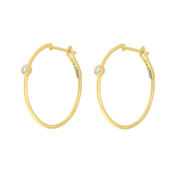 14K GOLD DIAMOND JILL HOOPS
