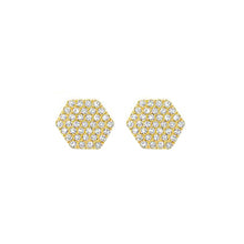 14K GOLD DIAMOND HEXAGON STUDS