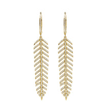 14K GOLD DIAMOND MEDIUM FEATHER EARRINGS