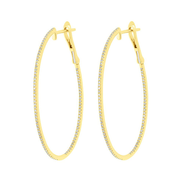 14K GOLD DIAMOND OVAL AMY HOOPS