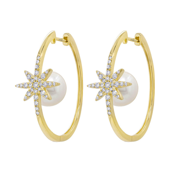 14K GOLD DIAMOND PEARL JULIETTE HOOPS