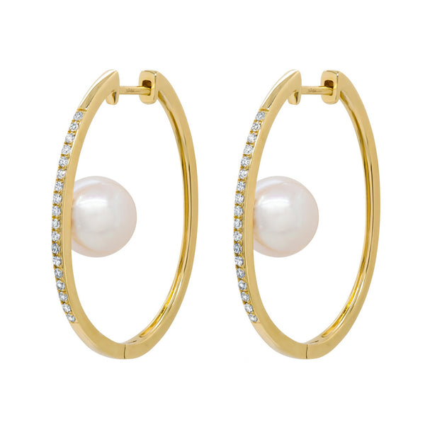 14K GOLD DIAMOND PEARL KAYLIE HOOPS