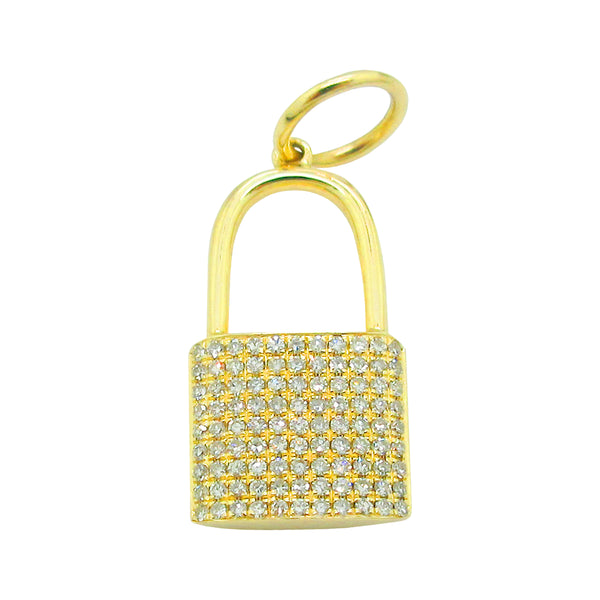 14K YELLOW GOLD DIAMOND LOCK CHARM