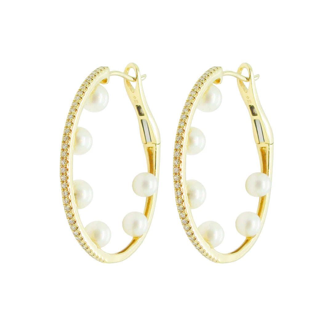 14K GOLD DIAMOND PEARL PIPER HOOPS