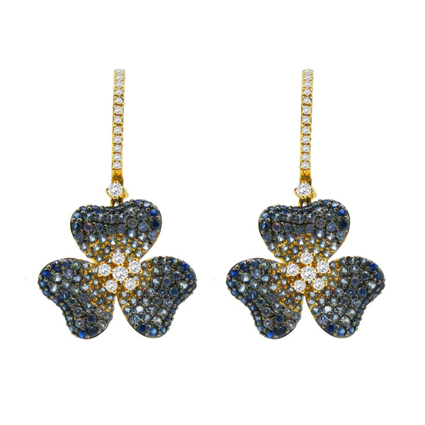 18K GOLD DIAMOND BLUE SAPPHIRE EARRINGS