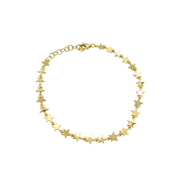 14K GOLD DIAMOND CHARLOTTE STAR BRACELET