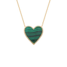 14K GOLD DIAMOND MALACHITE LARGE HAILEY NECKLACE
