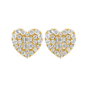 14K GOLD DIAMOND LARGE SARAH HEART STUDS