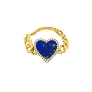14K GOLD DIAMOND HAILEY HEART CHAIN RING