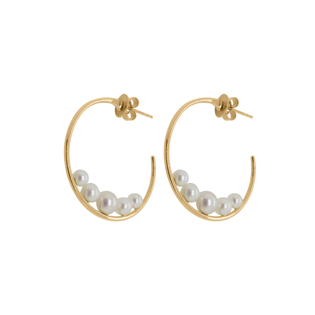 14K GOLD DIAMOND PEARL KENDRA HOOPS