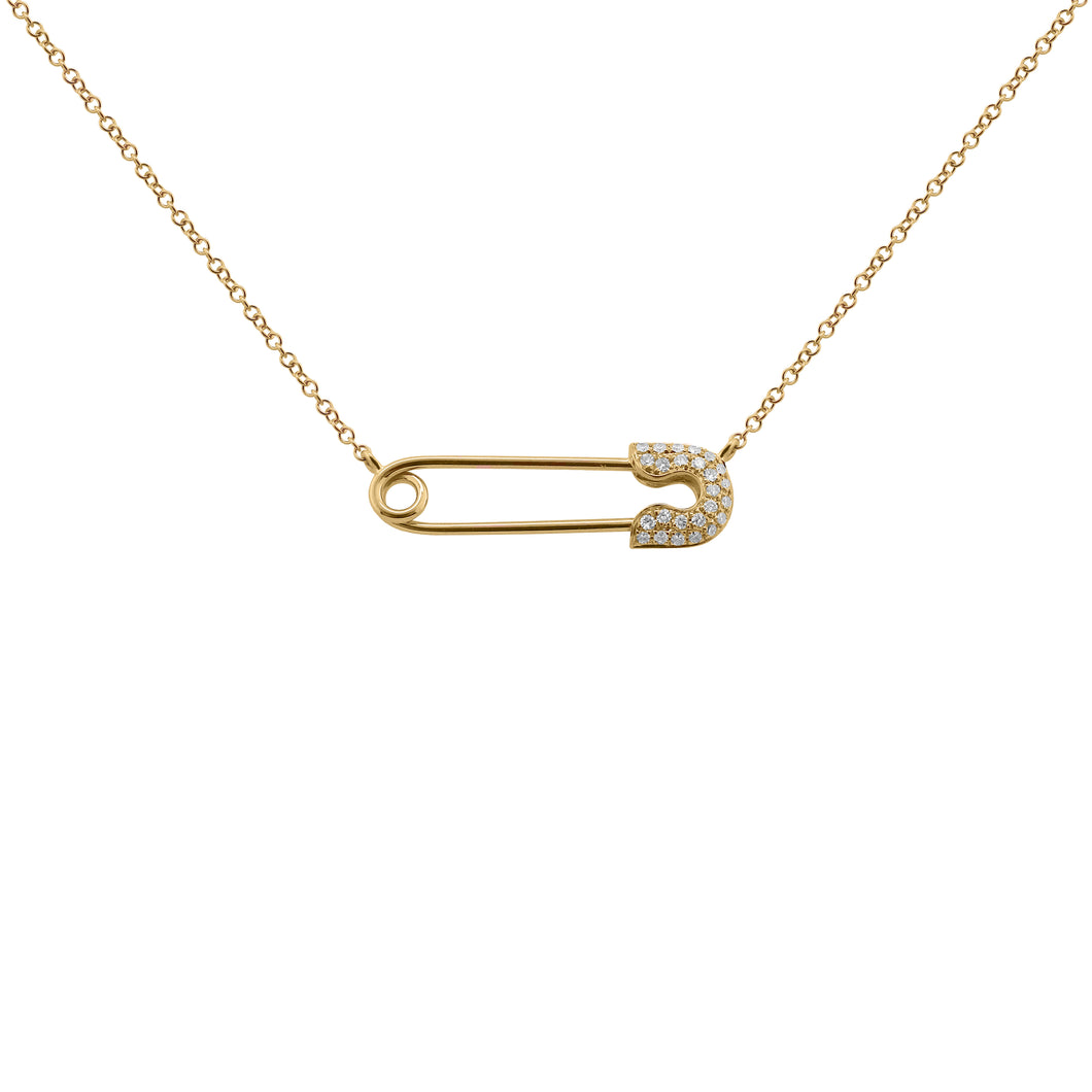 14K GOLD DIAMOND SAFETY PIN NECKLACE