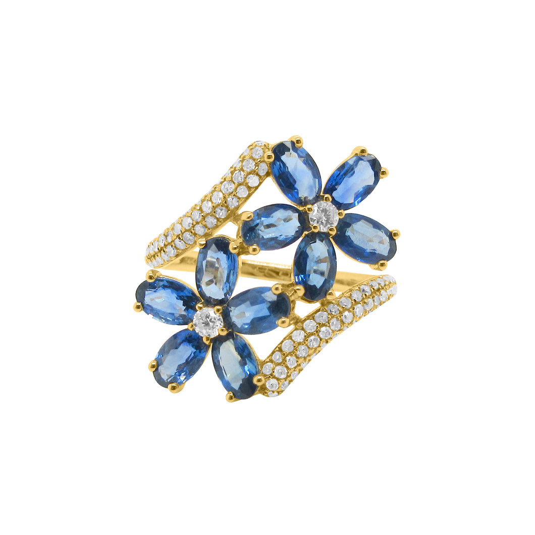 14K GOLD DIAMOND SAPPHIRE AMELIA FLOWER RING