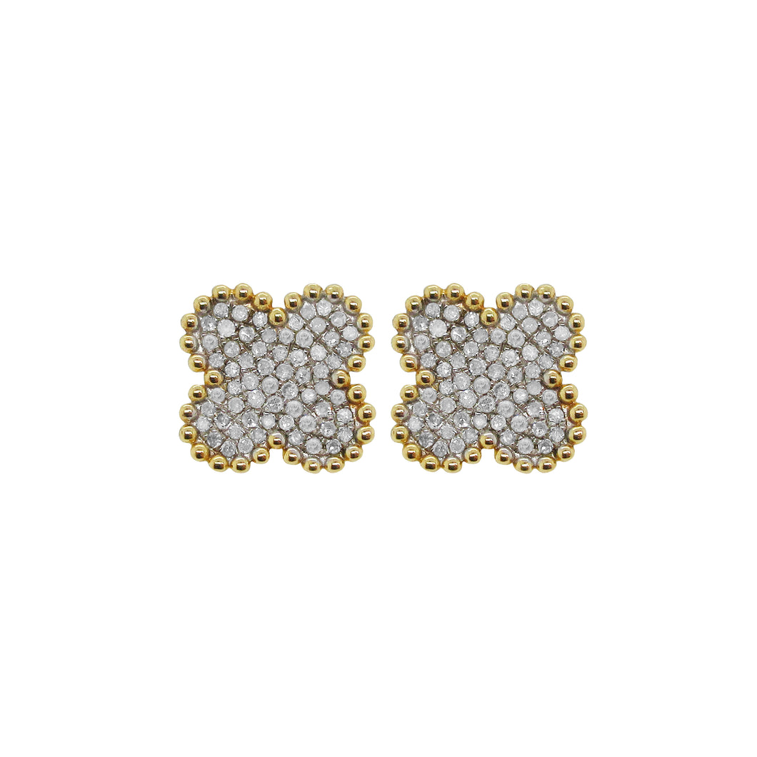 14K GOLD DIAMOND NORAH CLOVER STUDS