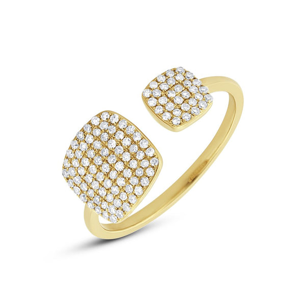 14K GOLD DIAMOND DOUBLE SQUARE RING
