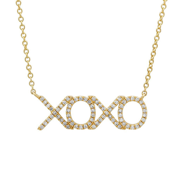 14K GOLD DIAMOND XOXO NECKLACE (ALL COLORS)