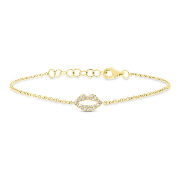 14K GOLD DIAMOND LIPS BRACELET