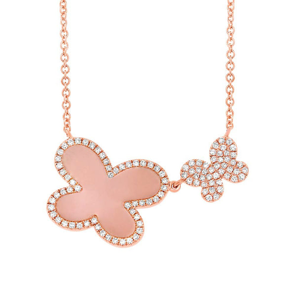 14K DIAMOND PINK OPAL AVA NECKLACE