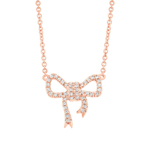14K GOLD DIAMOND JANESSA BOW NECKLACE (ALL COLORS)
