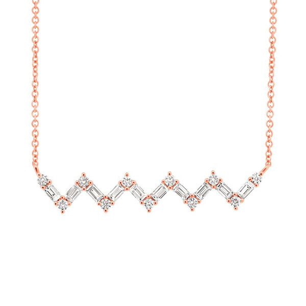 14K GOLD DIAMOND BAGUETTE ZIGZAG NECKLACE