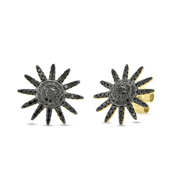 14K GOLD BLACK DIAMOND STARBURST STUDS