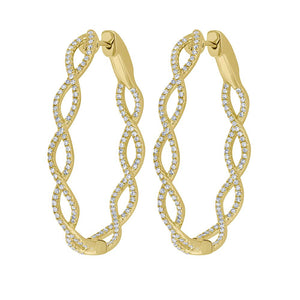 14K GOLD DIAMOND CHRISTIE TWISTED HOOPS