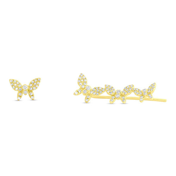 14K GOLD DIAMOND JANINE BUTTERFLY EARRINGS