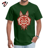 T Shirt Mononoke T-shirts Men Anime Tshirt Princess Mononoke Thanksgiving Day Mask Design Cotton Crewneck Mens Tee Drop Shipping
