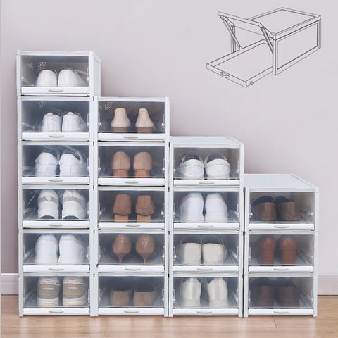 Baffect 3PCS/lot Shoes Rack Plastic Stackable Shoe Boxes Shoebox Shoe Organizer for High Heels Sneakers Storage Shoes Drawers