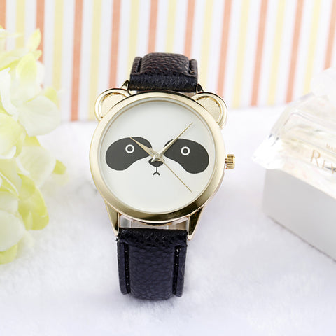 Cute Panda Leather Strap Women Watches