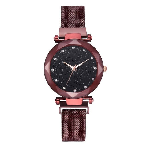 Women Stylish Quartz Wrist Watch Mesh Alloy Magnet Strap Starry Sky Dial Casual Watches LXH - mintstuffs.com