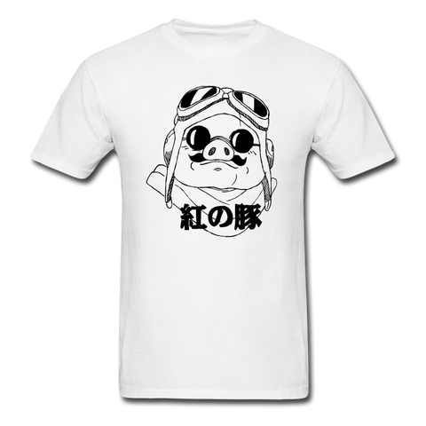 Porco Rosso Ghibli Sketched T-Shirt - white