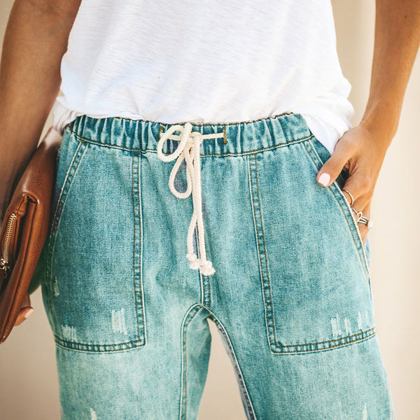 [Limited Stock, 50% OFF] DRAWSTRING DISTRESSED COZY JEANS - BestLittleThing