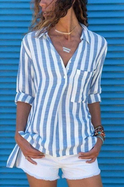 Plus Sized Striped Blouse(6 Colors) - BestLittleThing