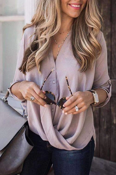 V-Neck Solid Blouse - BestLittleThing