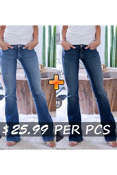 70s Stretch Hip Hugger Street Style Boot-cut Jeans - BestLittleThing