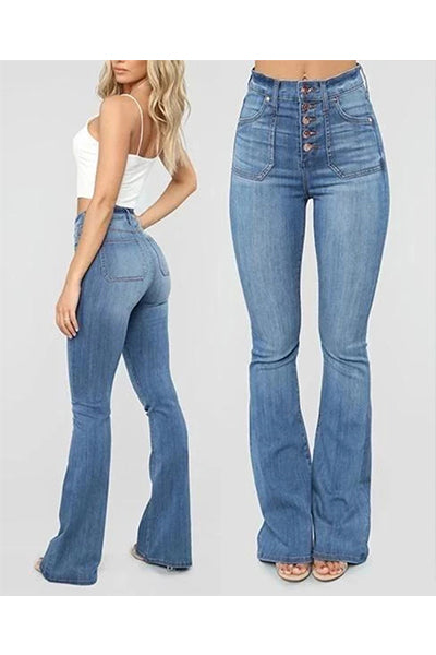 【Only $29.98!!】70s High Rise Stretchy Buttons Bell Bottom Jeans - BestLittleThing