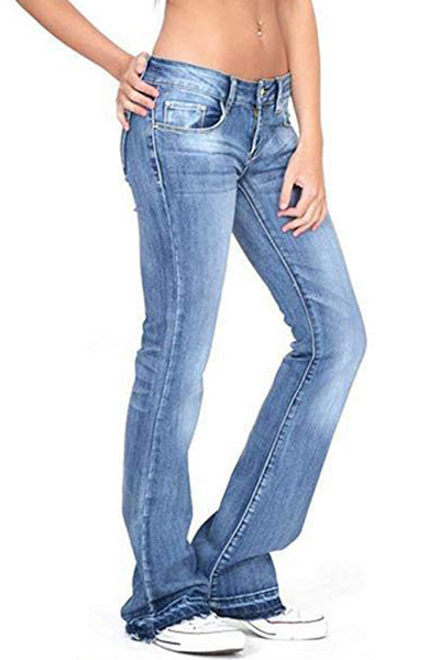 【Only $29.98!!】Low-rise Faded Frayed Ends Bootcut Jeans - BestLittleThing