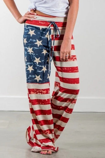 Casual Loose American Flag Striped Drawstring Palazzo Pants - BestLittleThing