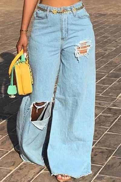 【Only $38.98!!】Fringed Hole Organic Denim Broad-Legged Baggy Jeans - BestLittleThing