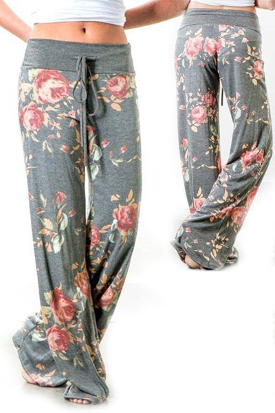 Casual Loose Floral Pattern Drawstring Palazzo Pants - BestLittleThing