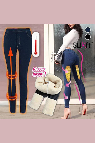 Thermal Fleece Denim Jeggings - BestLittleThing