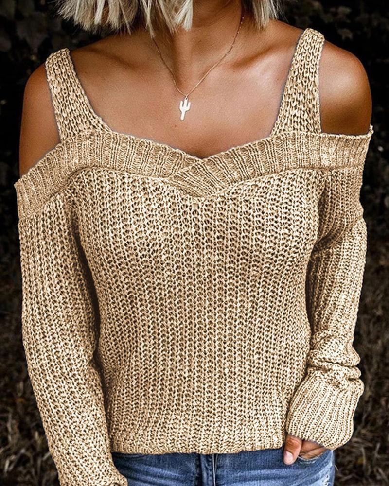 [50% OFF TODAY & FREE SHIPPING]Solid Long Sleeve Cut-out Sweater - BestLittleThing