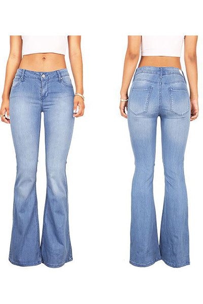 70s Stretchy Denim Mid Rise Bell Bottoms - BestLittleThing