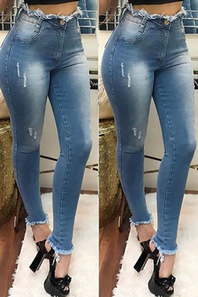 Middle Waist Skinny Fringe Tight-fitting Hole Pencil Jeans - BestLittleThing